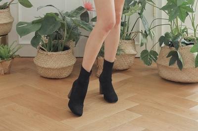 1区韩国本土服装代购(韩国圆通直发)stylenanda-时尚百搭纯色高跟中筒靴(2018-04-14上架)