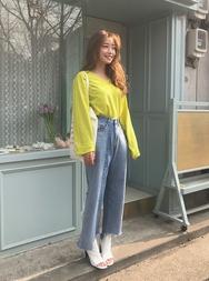2018新款韩国服装stylenanda品牌时尚百搭不规则底边牛仔裤(2018.3月)