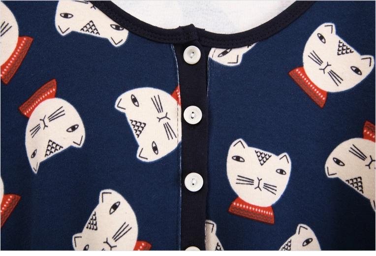 sultang-韩版可爱卡通小猫图案t恤/颜色:灰色/墨色/深