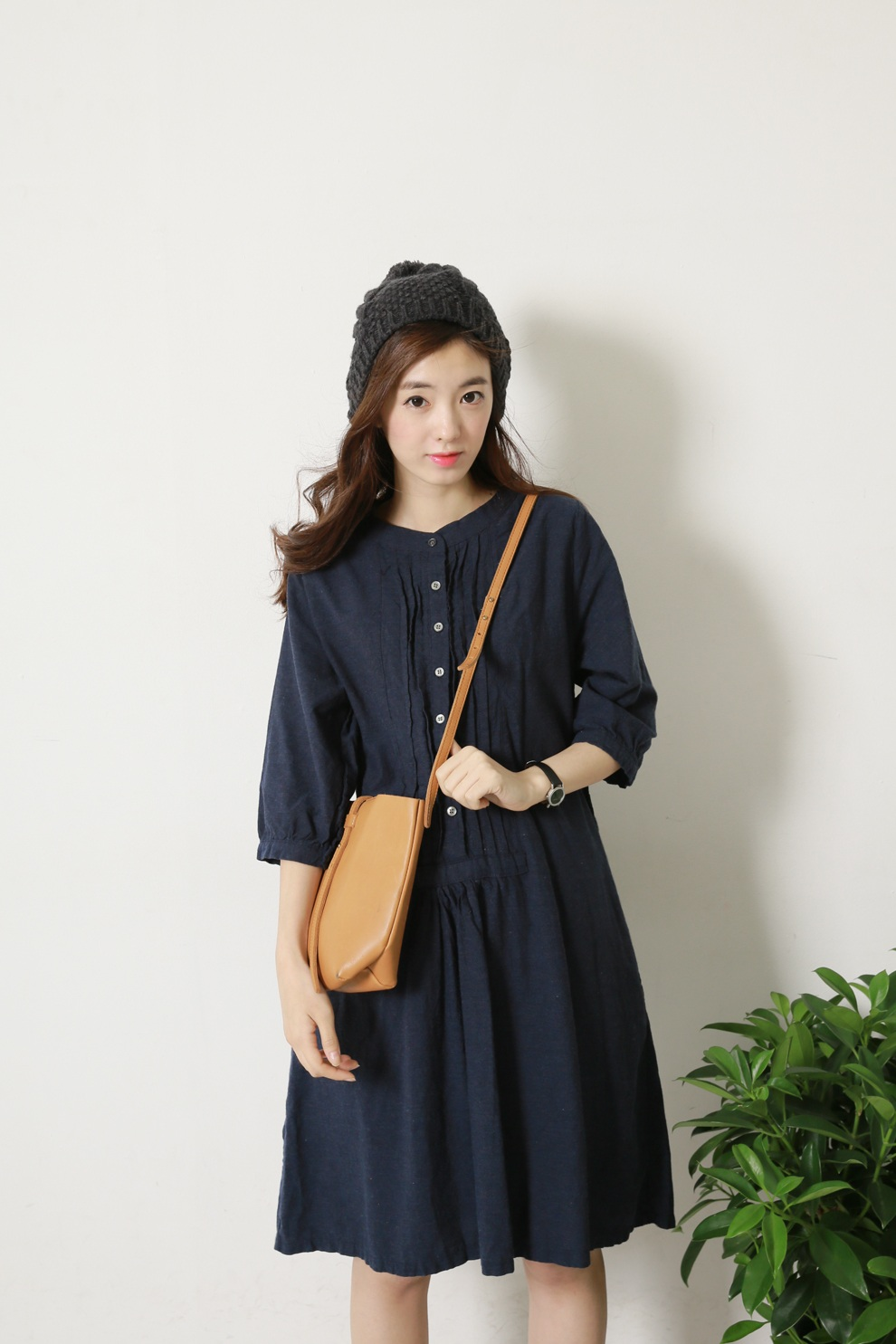 1区韩国代购正品验证sultang-stop00793040-可爱压褶七分袖纯色连衣裙