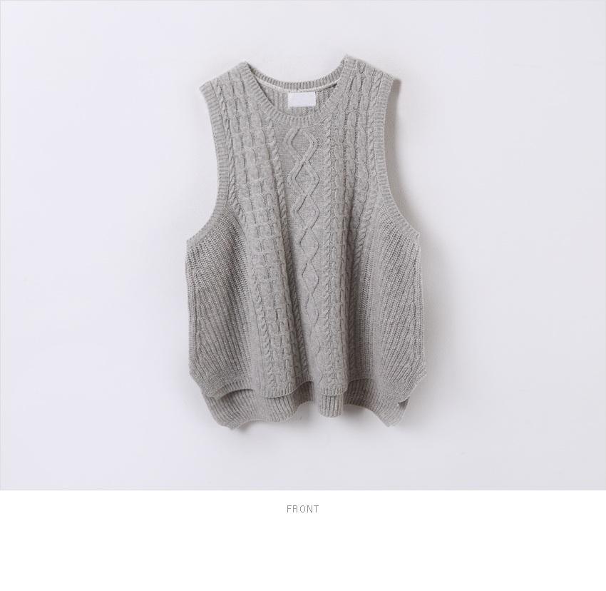 sultang-可爱麻花纹保暖针织马甲/颜色:米色/灰色2014