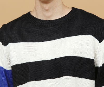 theaction-韩版时尚宽松条纹针织衫
