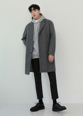 theaction-男士简约纯色高档时尚大衣