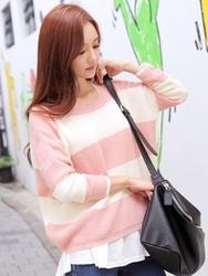 1区韩国代购正品验证tomnrabbit-TRKN00755982-韩国新品条纹圆领针织衫