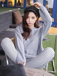 1区韩国代购正品验证tomnrabbit-TRKN00849425-气质淑女圆领长款针织衫