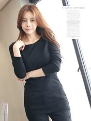 1区韩国服装网店代理一件代发tomnrabbit-TRTS00929060-修身长款气质纯棉T恤