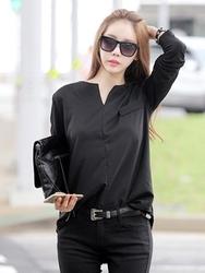 1区韩国服装网店代理一件代发tomnrabbit-TRTS00929864-人气V领口袋长袖T恤
