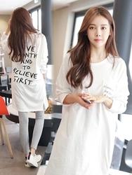1区韩国服装网店代理一件代发tomnrabbit-TRTS00929952-字母口袋纯棉长款T恤