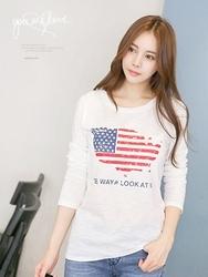 1区韩国服装网店代理一件代发tomnrabbit-TRTS00929954-简约字母纯棉长袖T恤