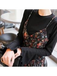 2018新款韩国服装tomnrabbit品牌韩版喇叭袖纯色个性T恤(2018.1月)