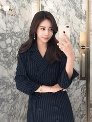 2018新款韩国服装tomnrabbit品牌条纹时尚气质夹克连衣裙(2018.3月)