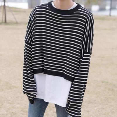 1区韩国本土服装代购(韩国圆通直发)tomonari-条纹露脐装针织衫(2018-07-03上架)