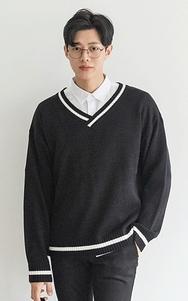 2018新款韩国服装tomonari品牌时尚流行V领针织衫(2018.1月)