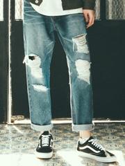 2018新款韩国服装TWN品牌潮流做旧时尚直筒牛仔裤(2018.1月)