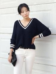 1区韩国代购正品验证uptownholic-UPKN00765140-时尚魅力流行百搭V领人气针织衫