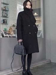 1区韩国代购正品验证uptownholic-UPCT00831053-时尚简约纯色双排扣舒适大衣