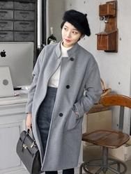 1区韩国代购正品验证uptownholic-UPCT00831052-新款长版简约三粒扣大衣