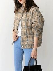 2018新款韩国服装uptownholic品牌女士个性时尚格纹夹克(2018.1月)