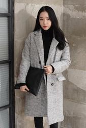 1区韩国代购正品验证whitefox-WFCT00831310-韩版双排扣魅力毛呢大衣