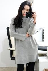 1区韩国代购正品验证whitefox-WFKN00831311-休闲宽松高领针织连衣裙