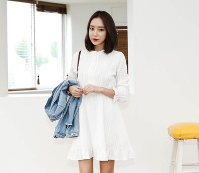 whitefox-优雅可爱圆领连衣裙