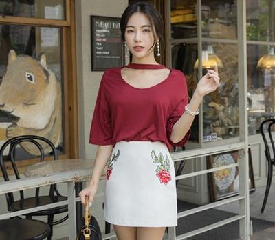 whitefox-时尚简单玫瑰刺绣白色裙子