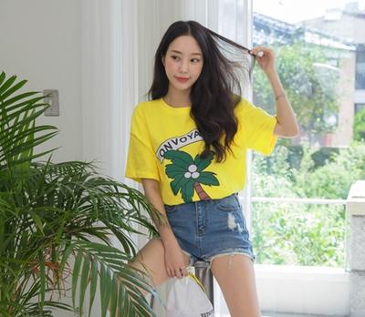 whitefox-时尚字母印染T恤
