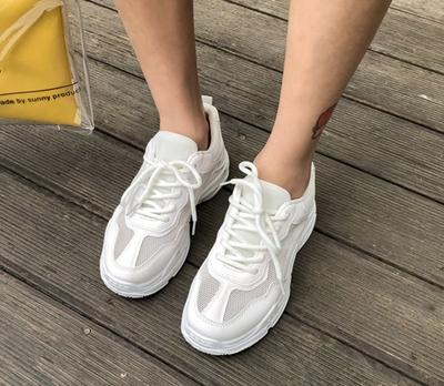 1区韩国本土服装代购(韩国圆通直发)whitefox-白色网状厚底运动鞋(2018-05-21上架)