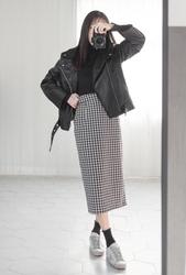 2018新款韩国服装whitefox品牌时尚流行格纹长裙(2018.1月)