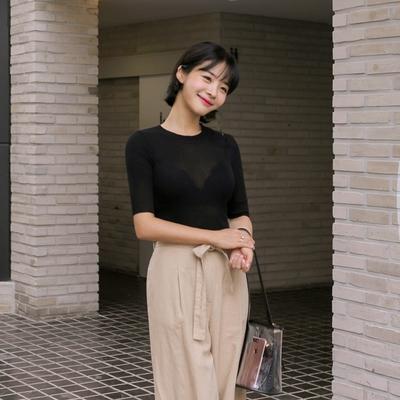 withipun-韩版半袖女性魅力针织衫