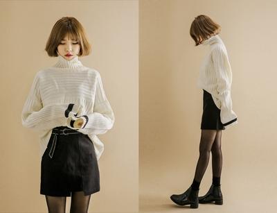 yubsshop-简洁螺纹时尚高领韩版针织衫