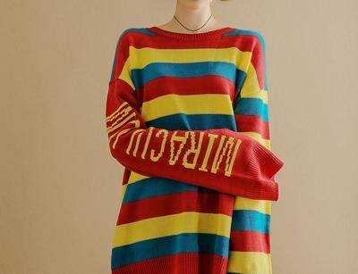 yubsshop-彩虹字母个性韩版针织衫