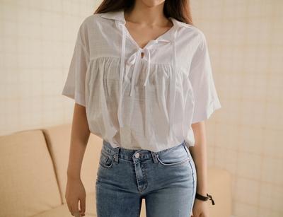 yubsshop-清新系带纯色衬衫