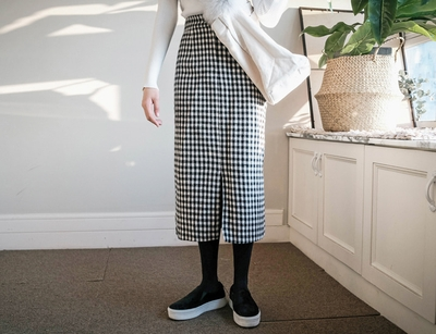 yubsshop-气质格纹魅力长裙