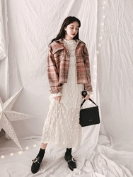 2018新款韩国服装yubsshop品牌休闲舒适格子短款夹克(2018.1月)
