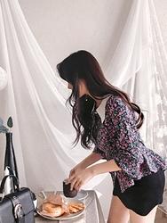 2018新款韩国服装yubsshop品牌休闲舒适碎花单排扣衬衫(2018.1月)